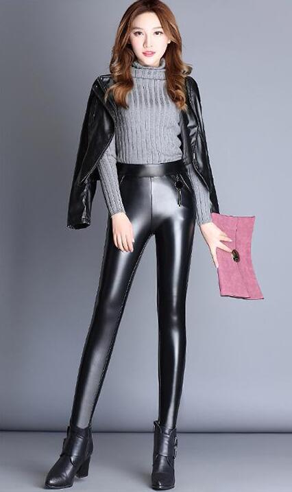 Mouton 2019 Vrai Mince Hiver Automne De Nouveau Moulant Étroit Pieds Femelle Femmes Pantalon Black Petits Peau En Cuir P8PpHwrnq
