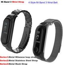 Mi Band 3 Strap For Xiaomi Mi Band 3 Metal Steel Bracelet Miband 3 Leather Pulsera Correa Mi Band 3 Milanese Bracelet Strap