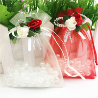 50pcs 7x9cm White/Red Rose Drawstring Jewelry Wedding Organza Bags New Hot Organza Pouch Wedding Party Favor Candy Gift Bag Z347