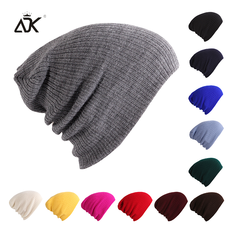 a86c654ce09 ADK Winter Warm Beanies Hats Acrylic Skullies Hip Hop Soft Knitted Hat  Female Cap For Boys