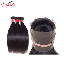Sophie's brasilianska Straight Human Hair 3 Bundles With 360 Stängning Natural Color Hair Wefts Non-Remy Hair Extensions No Tangle
