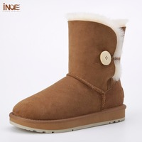 INOE Genuine Sheepskin Leather Mid Calf Suede Women Winter Snow Boots With Button For Men Fur