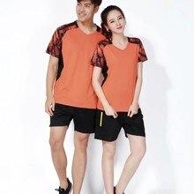 Комплект быстросохнущей дышащей одежды для мужчин и женщин, летняя одежда для тенниса и бадминтона, рубашка+ шорты, спортивный костюм, L2054YPC