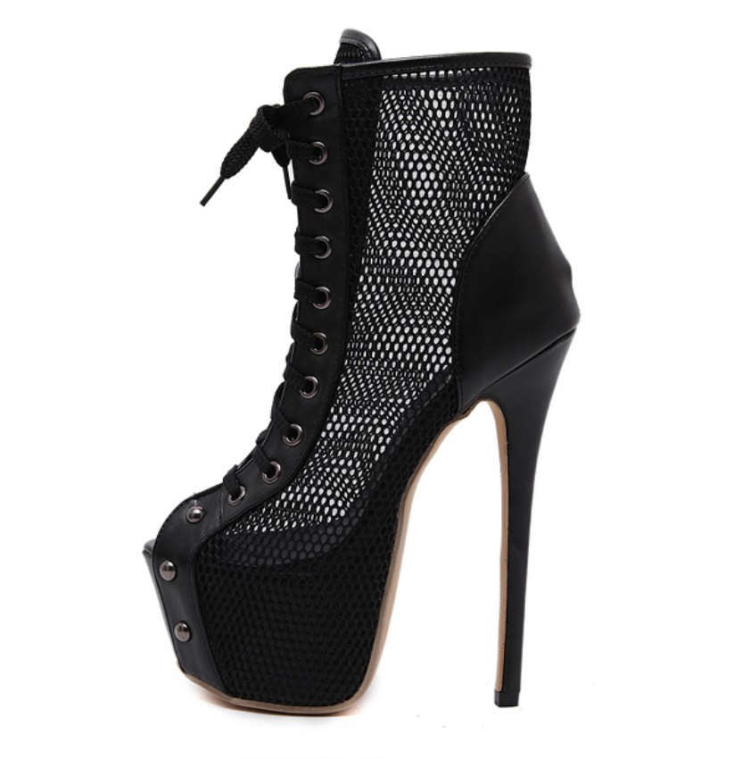 ФОТО 2017 Spring Summer Gladiator Sandals Mesh Cut Out Pumps Stiletto Ankle Boots Peep Open Toe Platform Ultra High Heel Fetish Shoes