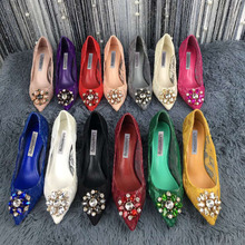 Bridal Pumps Dress-Shoes Lace Rhinestone Crystal Pointed-Toe Woman Ladies Floral Sexy