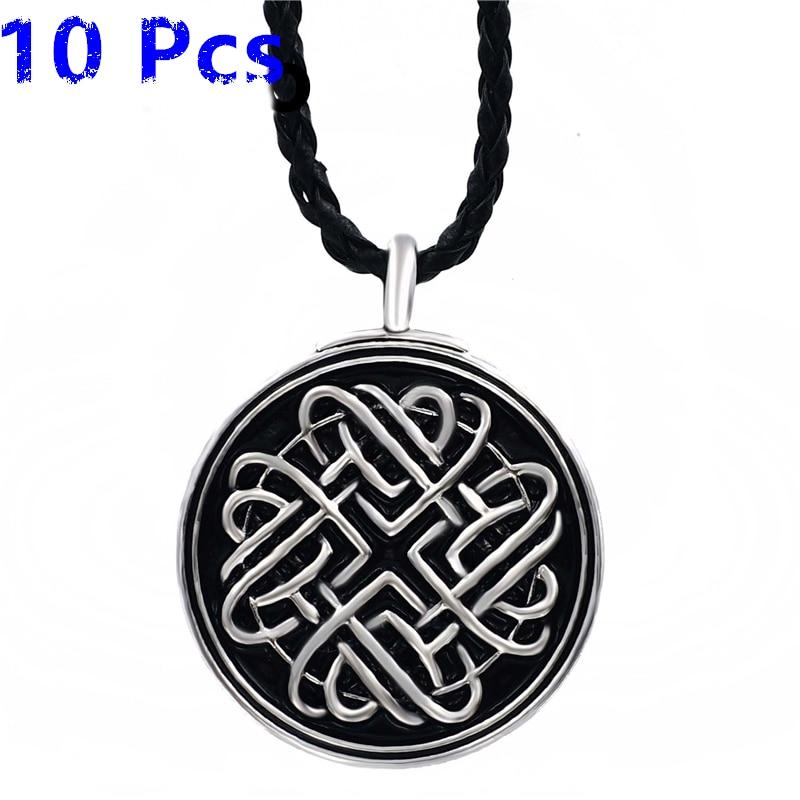 Wholesale 10 Pcs Celtic Infinite Heart Knot Amulet Mens Boys Pewter Pendant with 24