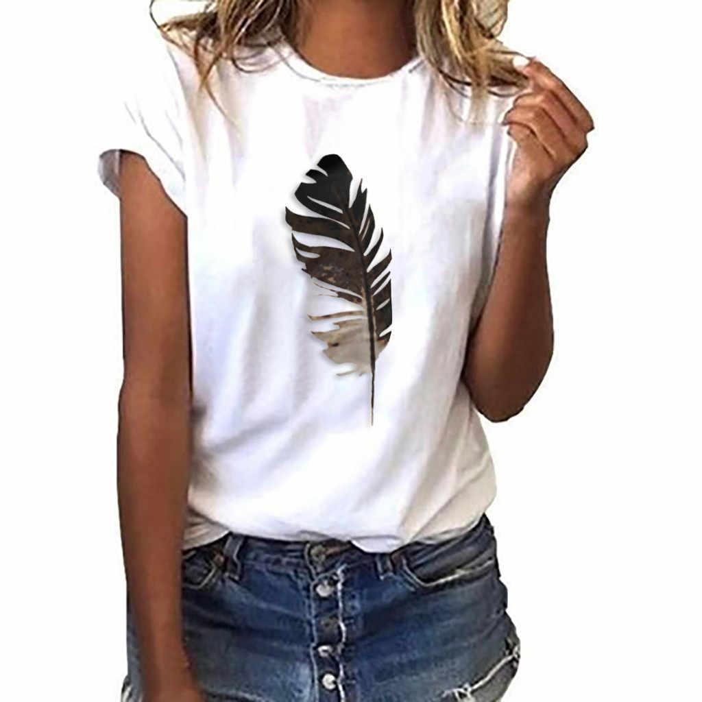 Summer female fashion Harajuku large size wave Feathe print fun short-sleeved T-shirt tops tees new wave O-Neck T-shirt S-3XL #A
