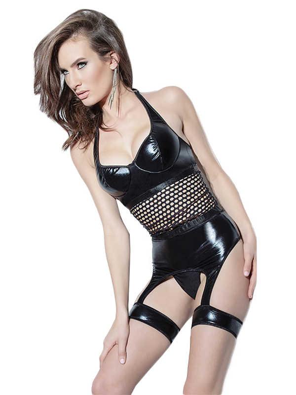 c8bb71bacf New Hot Sexy Black Teddy Lingerie Set Women Vinyl Leather Halter Corset  Waist Shape Femme High
