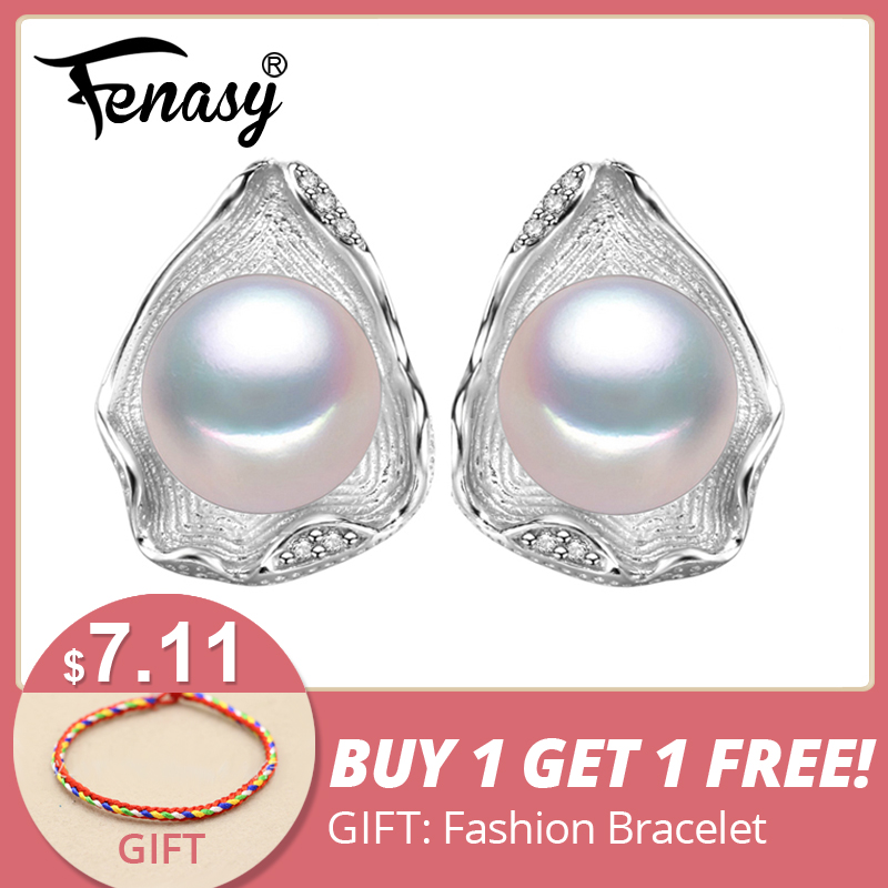 FENASY charms perhiasan mutiara air tawar Geometris bohemian pearl earrings mode S925 sterling silver Stud Earrings untuk wanita