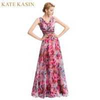 Robe de Soiree 2017 Schulter Blumendruck Abendkleider Bodenlangen Chiffon Blume Abendkleider Lange Formale Kleid