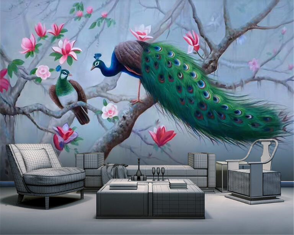 beibehang Custom aesthetic papel de parede wallpaper new Chinese hand-painted magnolia flower peacock wall decorative painting