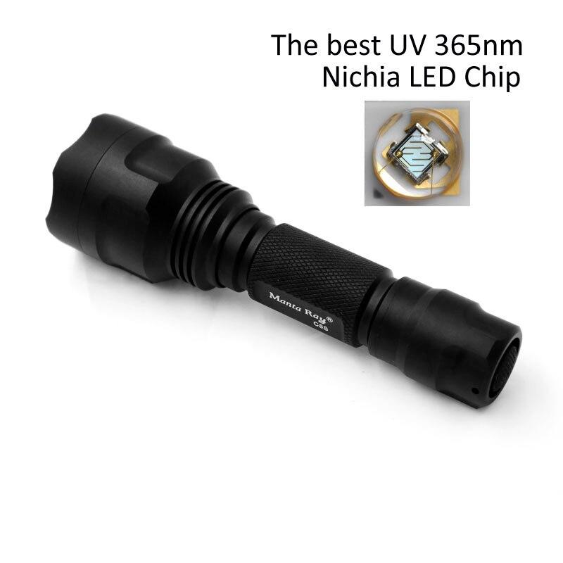 Zoomable Manta Ray C8s LED UV Light Torch 18650 battery Powerful Nichia 365nm UV Flashlight