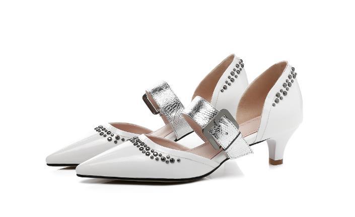 43 Taille Pointu Pour Chaussures Mode Pompes Printemps Bande Noir Sangle Bout Noir Mince Vert Mélangée Blanc Talons 45 blanc Femmes Couleur Le vert Grande 44 À 5TUqwXrq