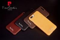 ПЬЕР КАРДЕН Натуральная Кожа Case Чехол Для iPhone 7/7 Плюс С Металлическим Логотипом Бесплатная Доставка