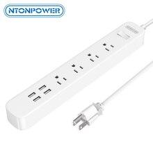 NTONPOWER ODPC USB Surge Protector Power Streifen UNS Stecker 4 AC Outlet 4 USB Lade Port mit Überlast Schalter lange Power Kabel 1,5 M