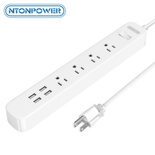 NTONPOWER ODPC USB Surge Protector Power Strip US Plug 4 AC Outlet 4 USB Charging Port with Overload Switch Long Power Cord 1.5M