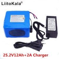 liitokala 24 V 12ah 6S6P lithium battery 25.2 V 12ah li ion battery for battery 350 W E motorcycle 250 W engine wit