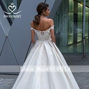 Image 4 - Vintage con cuentas de encaje apliques para vestido de novia sin hombros A Line vestido de novia princesa Court Train Swanskirt F125 vestido de novia