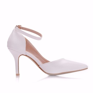 Image 4 - Crystal Queen Women White  Heels Sexy Wedding White Shoes Fetish 8cm High Heels Lady Stiletto Plus Size Pumps Sandals