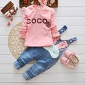 2016 New cartoon rabbit  Spring Baby Girls Clothing Set Children Denim overalls jeans pants + Blouse Full Sleeve Twinset clothes