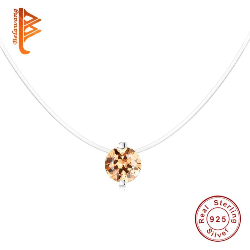 3645b4f5bb6 ... Classic 925 Sterling Silver Bright Crystal Round Pendant Necklaces with  Clear CZ for Women Fashion Jewelry