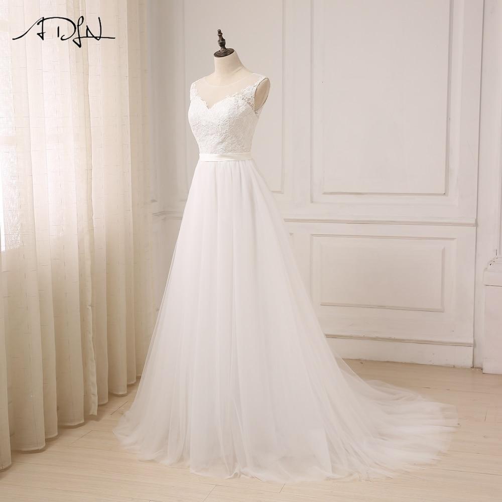 ADLN Ny Ankomst Billiga Bröllopsklänningar O-Neck Lace Tulle Boho - Bröllopsklänningar - Foto 3