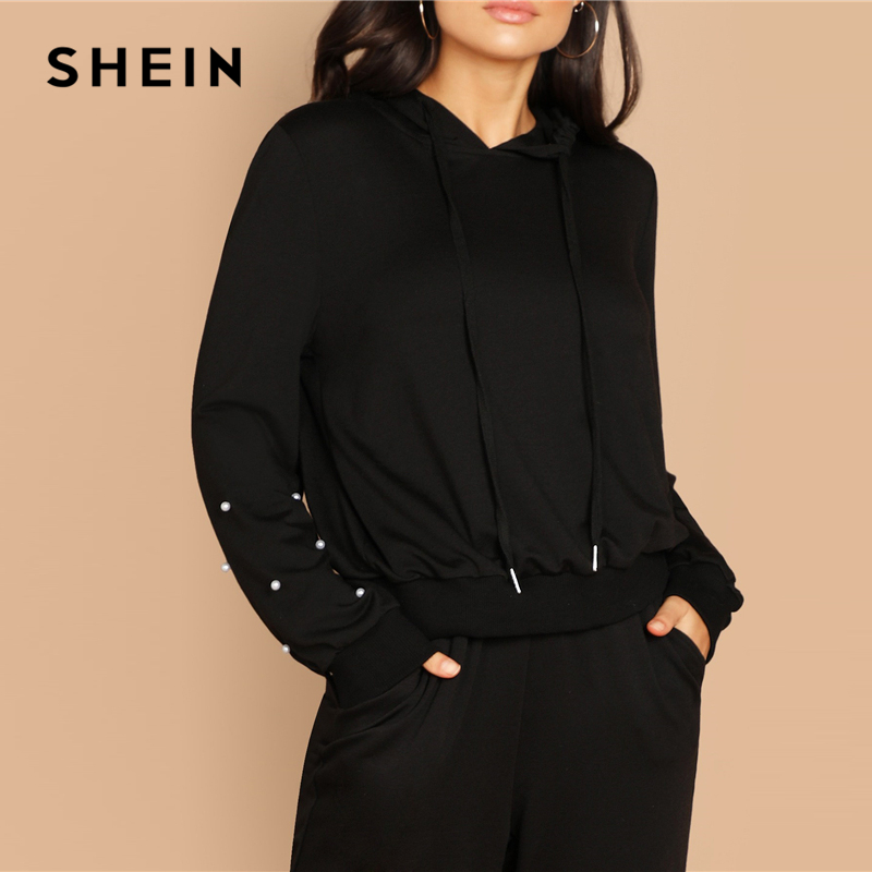 De Perla Detalle Mujeres Otoño Zanahoria Sudadera Cordón Pantalones Moderna  Mujer Negro Y Capucha Dos Shein ... b16d314dd90