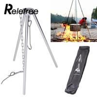 Relefree Outdoor Camping Campfire Picnic Hanging Cooking Pot Metal Tripod Stand Holder
