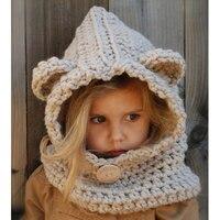 למכור חם ילדים סרוגים בעבודת יד כובעי דוב ברדס צמר אוזן אוזן בעלי החיים לילדים לשמור על חום
