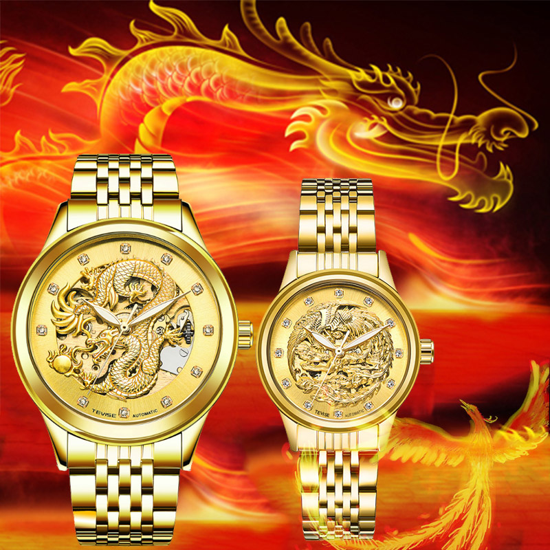 Hot Sell Tevise Brand Couple Watch Men Women Automatic Mechanical Watches Gold-Plated Luxury Clock Relogio Masculino Lover Gift