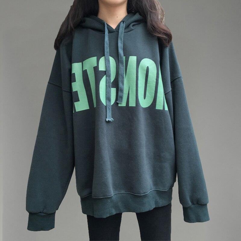 2018 Winter Women Hoodies Sweatshirts Pullover Thick Loose Female Student Korean Style Ulzzang Harajuku Oversize Hoodie Hips New hoodie