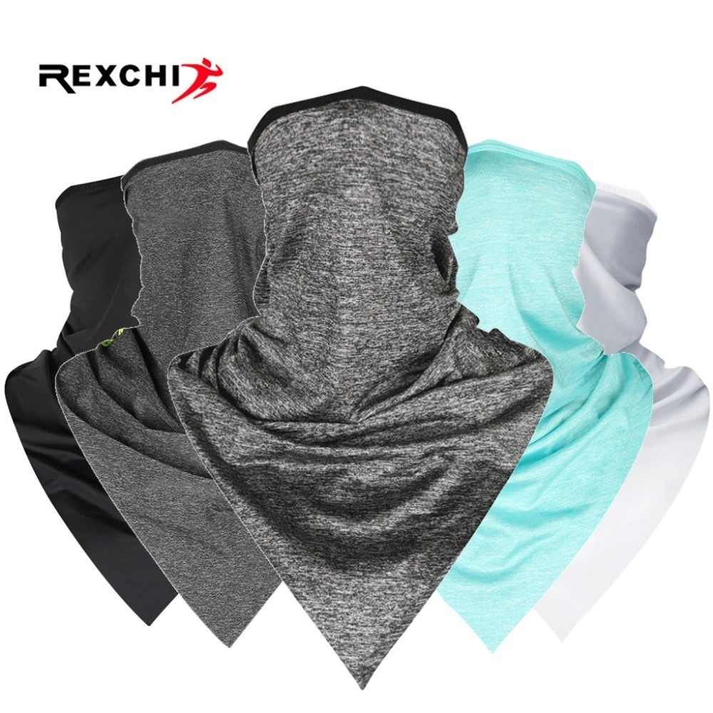 REXCHI Cycling Face Bandana Outdoor Sports Women Men Headband Faceshield Mask Neck Warmer Triangle Ice Silk Cool Scarf