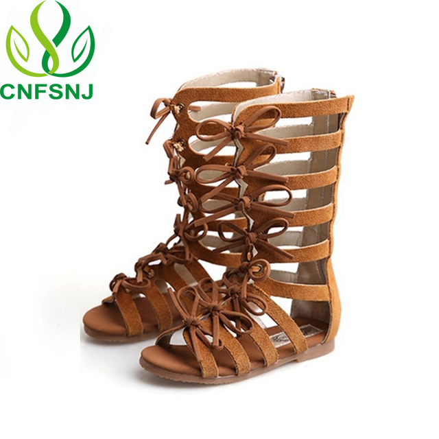 7b32adeaaed CNFSNJ High-top fashion leather summer brown black girls gladiator sandals  boots Roman kids shoe