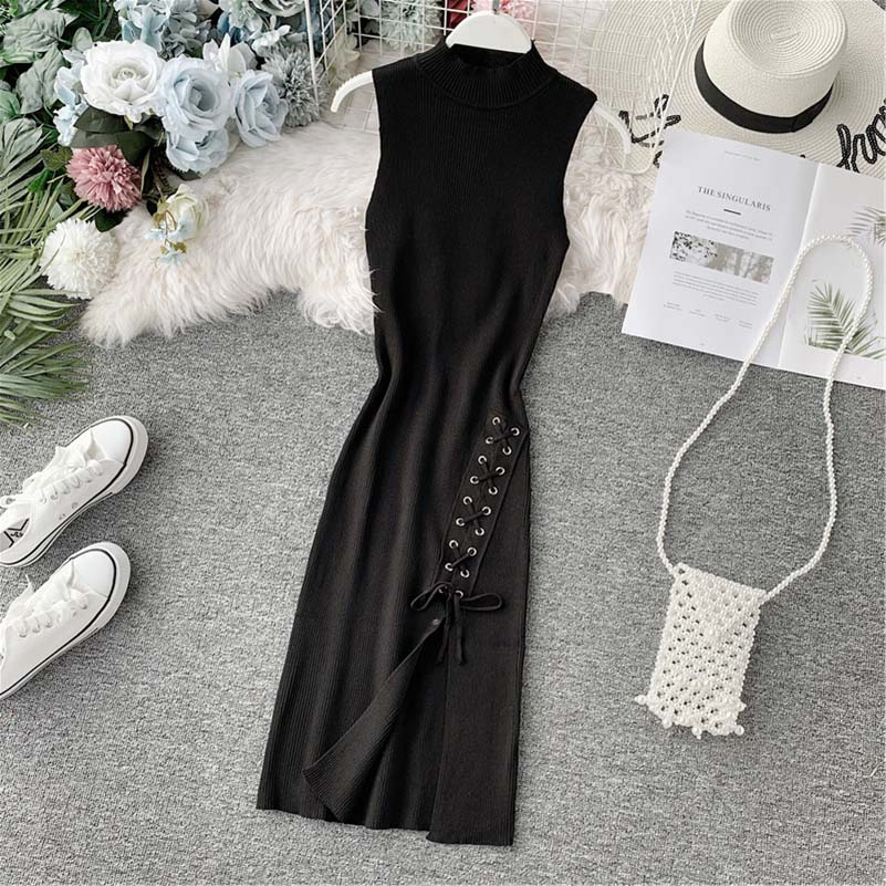 NiceMix Autumn Casual Knitted Lace Up Dress Women Sleeveless Slim Bodycon Black Dresses Vestidos De Fiesta in Dresses from Women 39 s Clothing