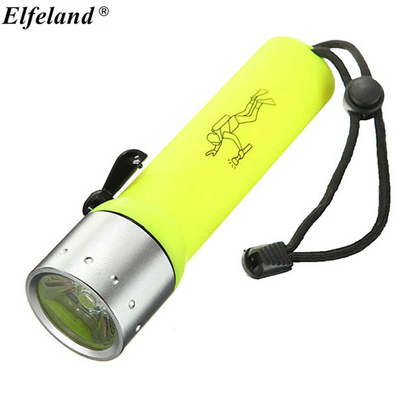 Elfeland Waterproof 5M 1200 Lumens ON / OFF Mode Q5 LED Diving Dive Underwater Light Lighting Lamp Flashlight 4AA Torch