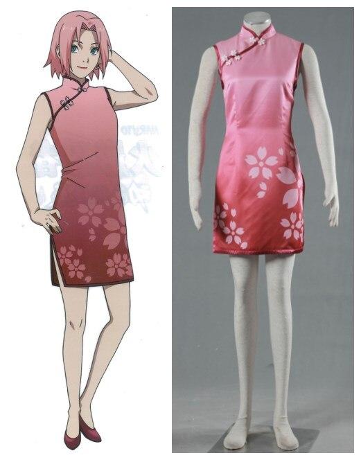 font b NARUTO b font Haruno Sakura cheongsam font b cosplay b font costume halloween
