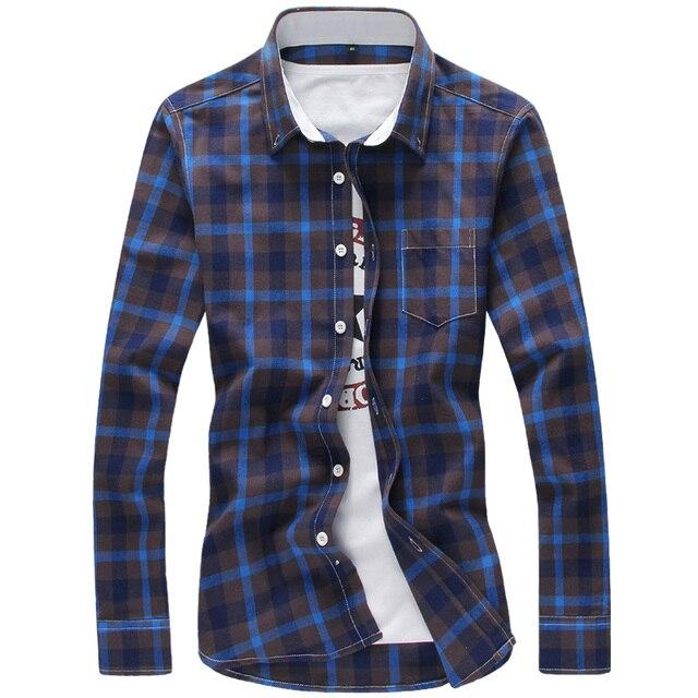 2017 Клетчатые Рубашки Мужчины М-5XL Красный Прохладный Дизайн Полная Длина качество Весна Осень Рубашки Camisa Masculina Плюс Размер Мужчины рубашка