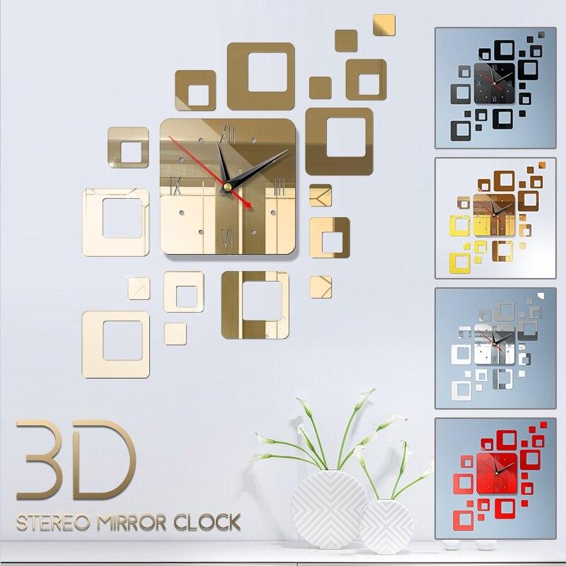 Creative Modern Design Wall Sticker 3D DIY Dimensional Acrylic Mirror Decorative Wall Clocks Living Room Bedroom Decor Clock