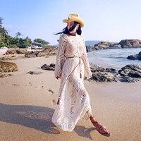 MX077 Новый Стиль 2016 женские летние пляжные свободные трапециевидные длинные расклешенные рукава Макси боковые разрезы выдалбливают крючком
