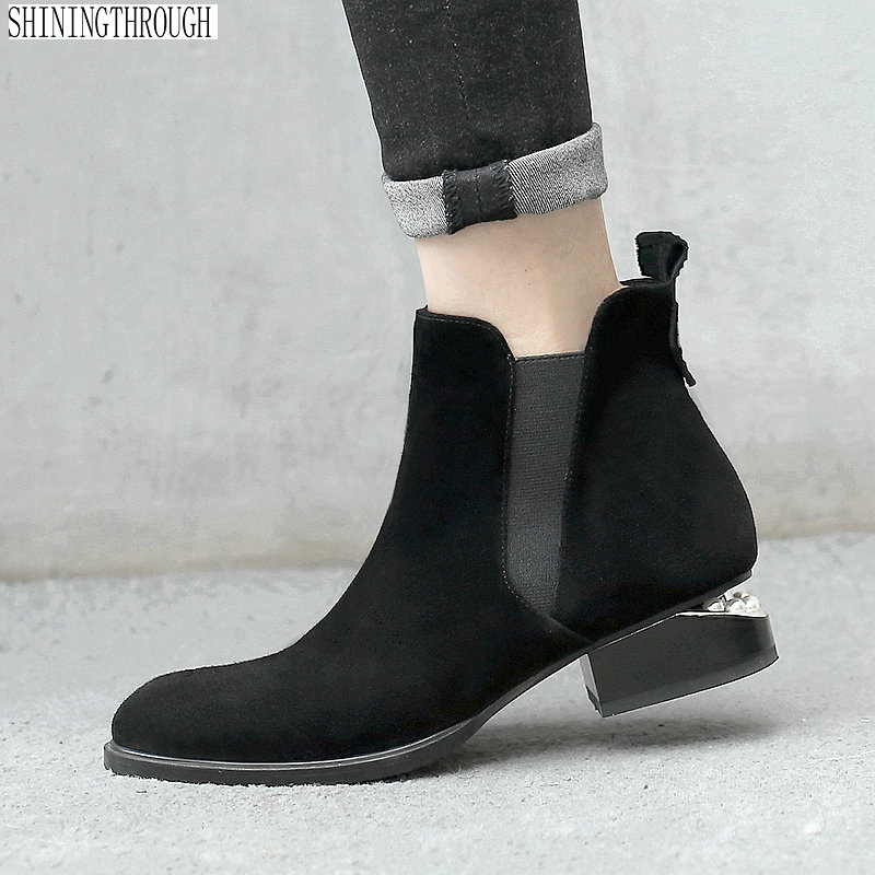 купить 2018 autumn winter handmade Genuine Leather women Boots low heels Martin boots side zipper leisure fashion ankle boots по цене 3750.27 рублей