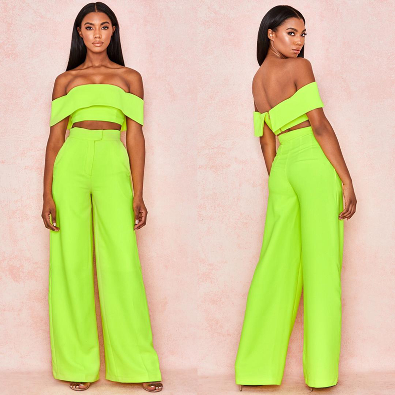 New Arrival 2019 Neon 2 Piece Set Solid Sexy Women Suits Clubwear Good Quality Neon Green Jumpsuit Wholesale Casual New 2 Sets