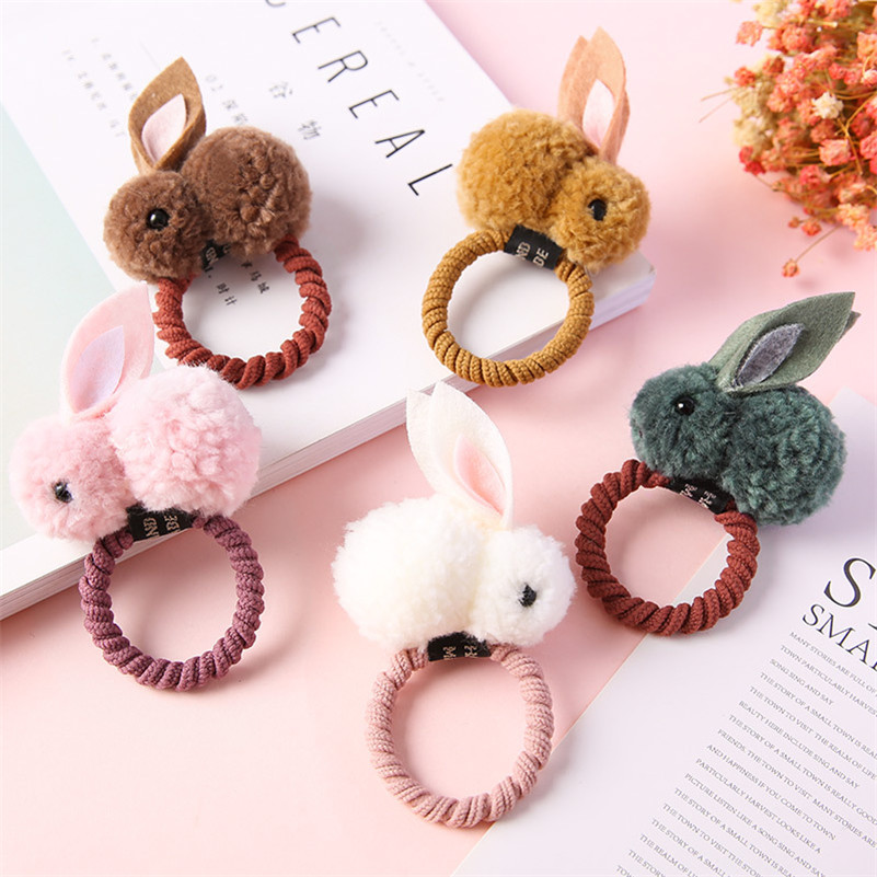 Korean Cute Plush Rabbit Hair Ties Handmade Bunny Hair Clips For Girls Elastic Rubber Hair Band Ponytail Holder Hair Accessories