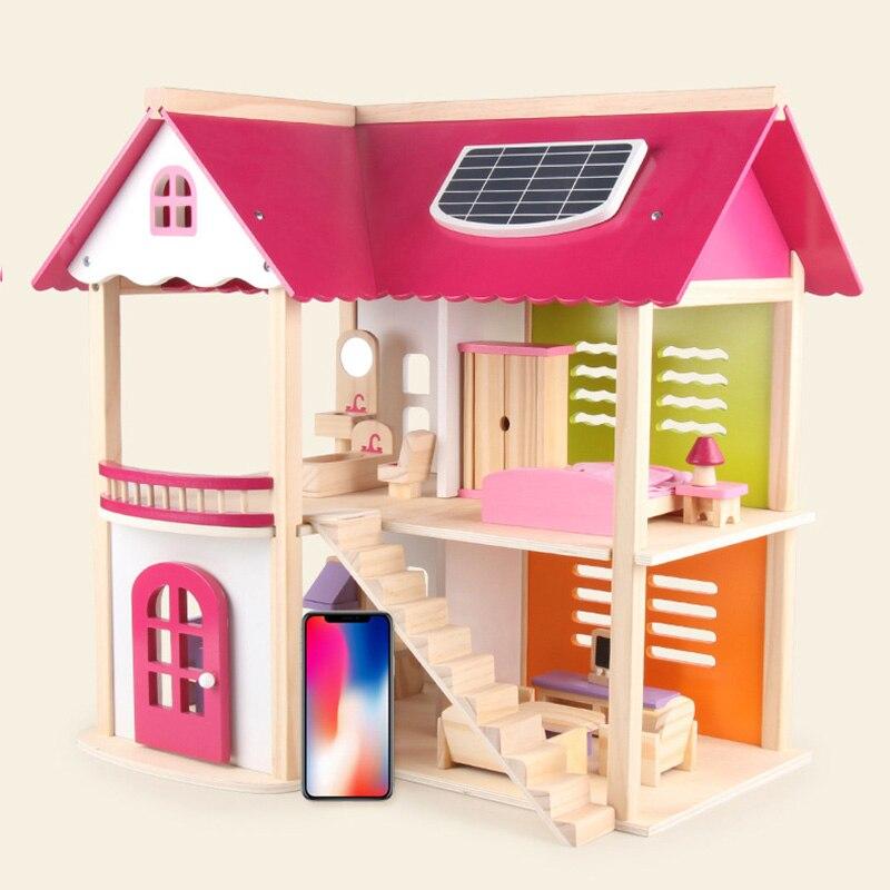 Cadeau éducatif pour enfants rose princesse poupée Villa en bois maison cabine maison bricolage Puzzle assemblage jouets en bois