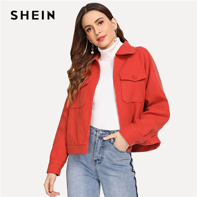 58150cc8208 SHEIN Orange Pocket Up Button Solid Coat Casual Long Sleeve Zipper Jackets  Women Autumn Highstreet Minimalist