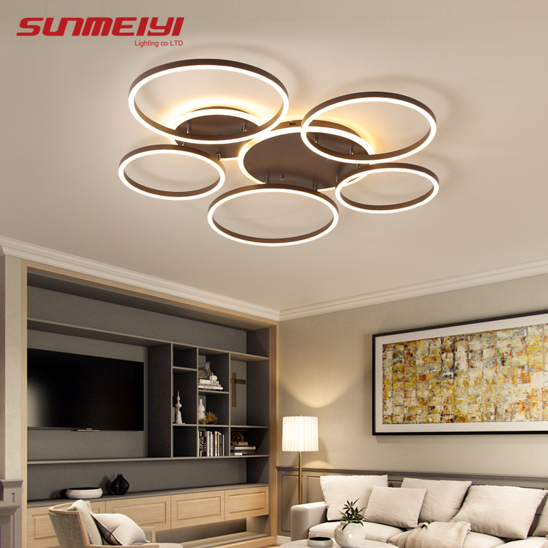 Modern Dimmable LED Ceiling Lights Brown Rings Ceiling Lighting For Kitchen Bedroom Industrial Home decor Living