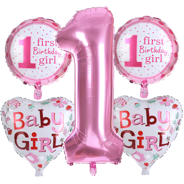 Baby 1 First Birthday Girl Boy Balloons Kids One Year Old Balloon Foil Number