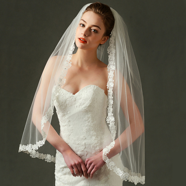 Honey Qiao High Quality Bridal Veils Lace Edge One Layer Wedding Veil Tulle Ivory / White 2016 veu de noiva Bridal Accessories