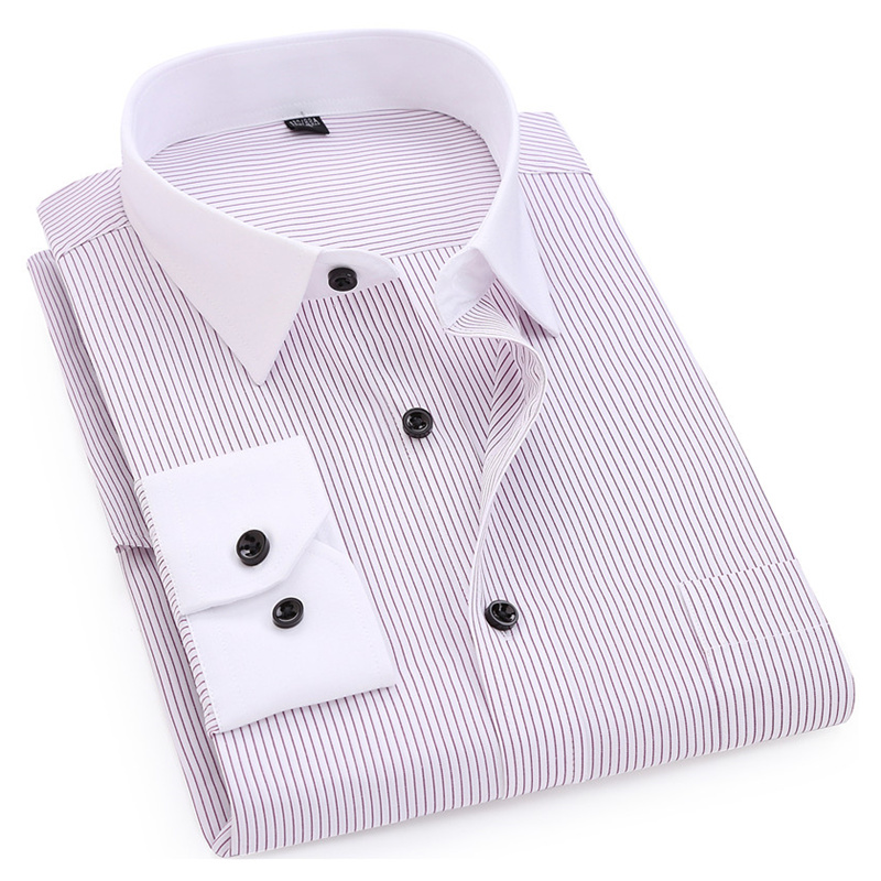 Striped Men Dress Shirt White-collar Design Formal Fashion Long Sleeve Business Men Casual Shirt Regular Fit Big Size 7XL 8XL
