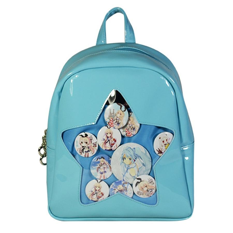 Lovely Star Cartoon Itabags Clear School Bag for Teenager Girls Kawaii Harajuku Women Backpacks 2018 Pu Leather Bookbag Students lovely new arrival high quality waterproof pu school bags for teenager girls satchel backpacks bookbag for kids rucksack handbag