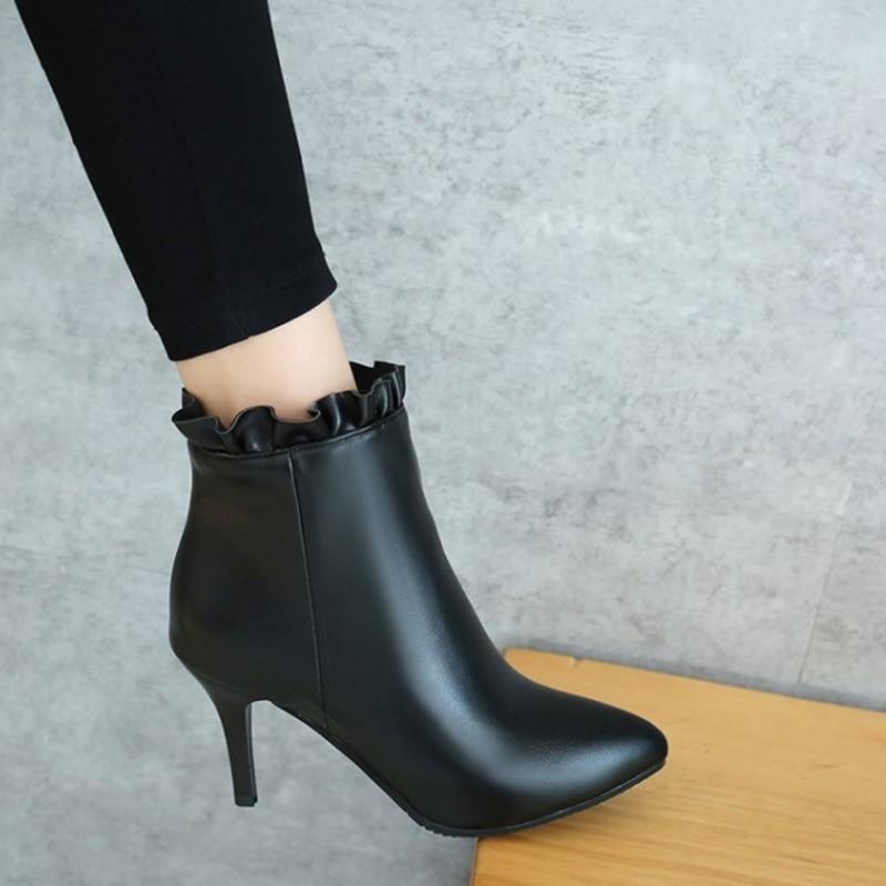 Cheville Stiletto Avec Toe Taille Q485 Mode Casual Courte Noir Femmes Sjjh Chaussures Bottes gris Chelsea ginger Doux Peluche Volants Zip Point Grande wqInSBP5x
